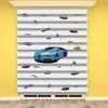 () Mavi Yarış Arabası Baskılı Erkek Çocuk Odası Zebra Perde - PM 017