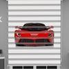 () Kırmızı Araba Baskılı Erkek Çocuk Odası Zebra Perde - PM 057
