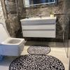 (Siyah) Leopar Lateks Taban Su Geçirmez Saçaksız (70x110 - 70x50) İkili Banyo Paspas Takımı