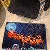(Çok Renkli) Santa Claus Yılbaşı Temalı Lateks Kaymaz Taban Kapı Önü Paspası (Ebat 60x90)