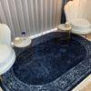 (Lacivert) Scout Oval Lateks Taban Su Geçirmez Antialerjik Leke Tutmaz Saçaklı Modern Halı