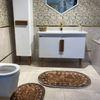(Kahverengi) 2'li Lateks Kaymaz Taban Saçaksız Banyo Paspas Takımı