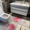 (Bej) 2'li Lateks Kaymaz Taban Saçaksız Banyo Paspas Takımı