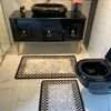 (Siyah) 2'li Lateks Kaymaz Taban Saçaksız Banyo Paspas Takımı