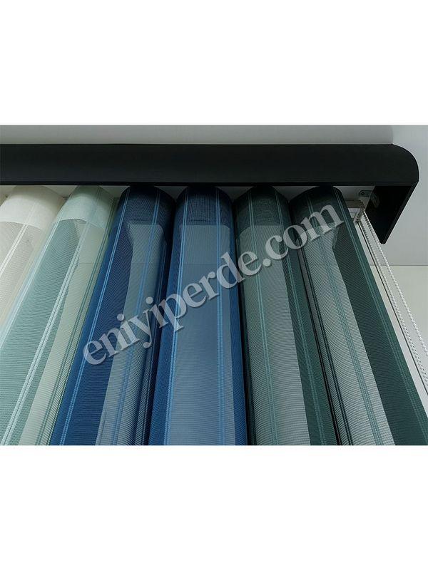 (Yeşil, Mavi) Çizigili Akıllı Dikey Tül Zebra Perde-Çağla Yeşili-Petrol Mavisi-Mint Yeşili-Ekru Fiyatı, Yorumları - Eniyiperde.com - 5