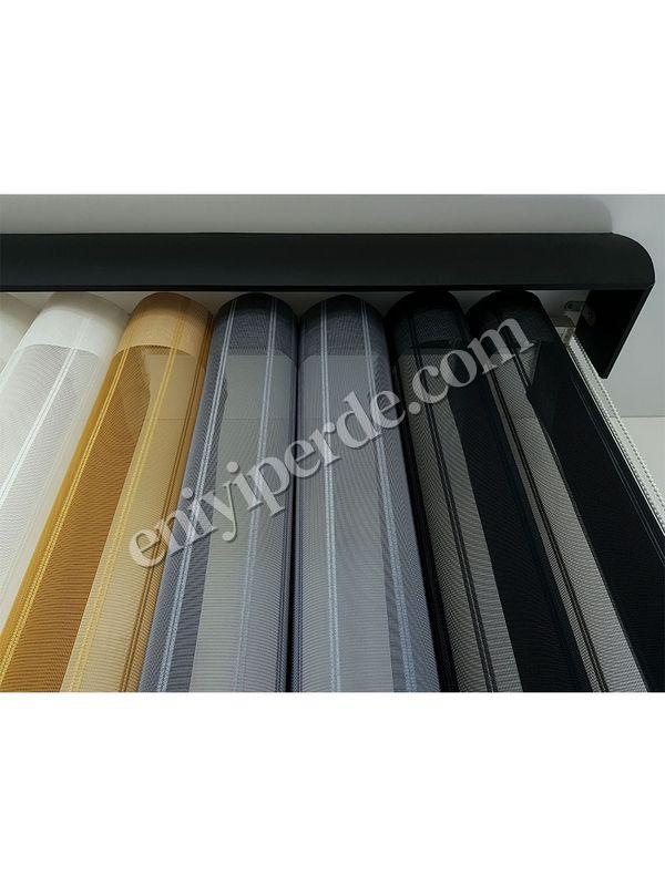 (Siyah, Gri) Çizigili Akıllı Dikey Tül Zebra Perde-Siyah-Gri-Hardal-Ekru Fiyatı, Yorumları - Eniyiperde.com - 5