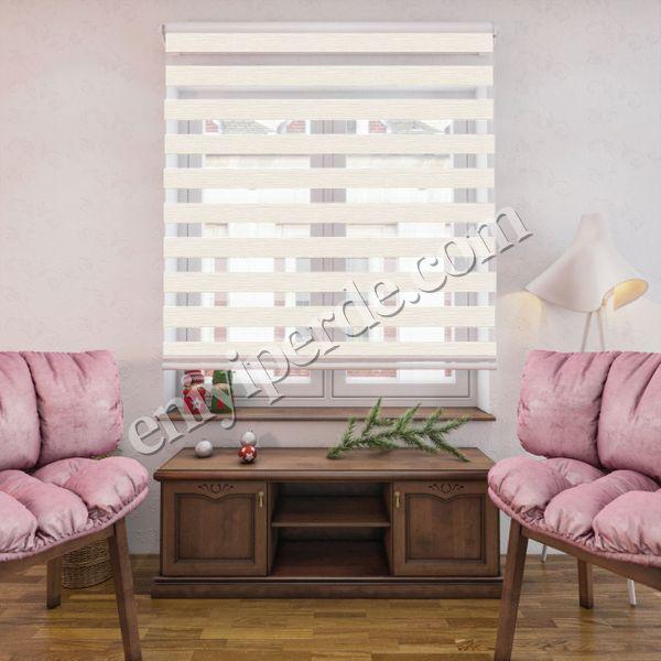 (Krem) Bambu Krem Zebra Perde - (7103) Fiyatı, Yorumları - Eniyiperde.com - 1