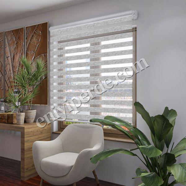 (Açık Gri) Bambu Açık Gri Zebra Perde - (7107) Fiyatı, Yorumları - Eniyiperde.com - 2