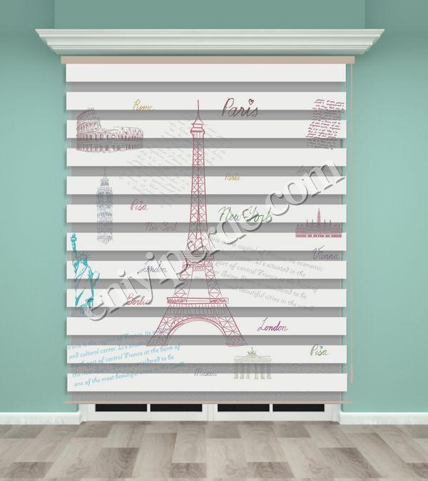 () Eyfel Kulesi Baskılı Zebra Perde - PM 004 Fiyatı, Yorumları - Eniyiperde.com - 1