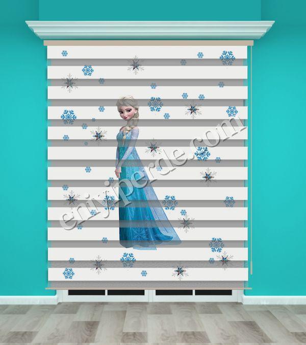 () Frozen Elsa Baskılı Kız Çocuk Odası Zebra Perde - PM 005 Fiyatı, Yorumları - Eniyiperde.com - 1
