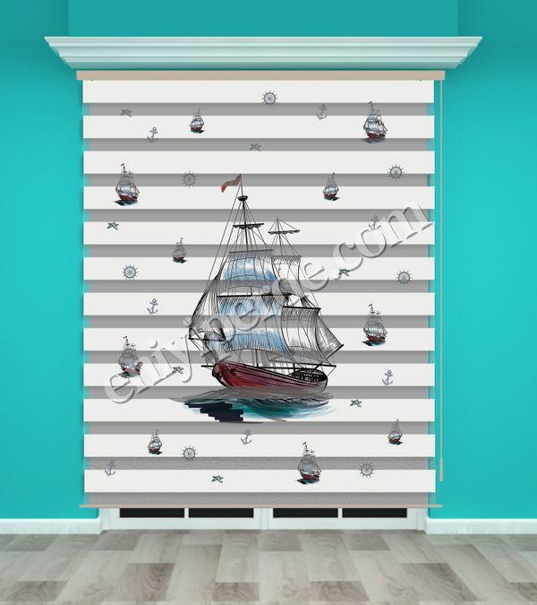 () Dijital Baskılı Zebra Perde (Gemi) - PM 007 Fiyatı, Yorumları - Eniyiperde.com - 1