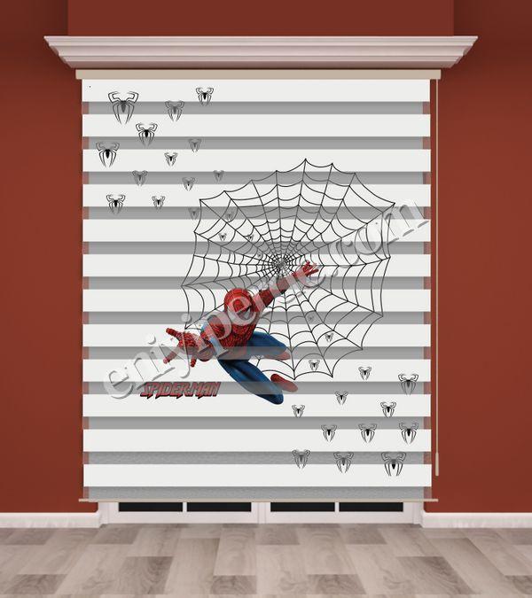 () Örümcek Adam Baskılı Erkek Çocuk Odası Zebra Perde - PM 011 Fiyatı, Yorumları - Eniyiperde.com - 1