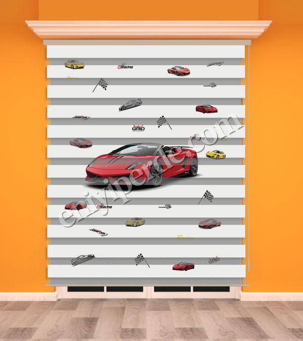 () Kırmızı Yarış Arabası Baskılı Erkek Çocuk Odası Zebra Perde - PM 012 Fiyatı, Yorumları - Eniyiperde.com - 1