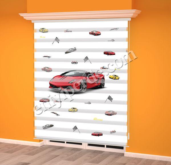 () Kırmızı Yarış Arabası Baskılı Erkek Çocuk Odası Zebra Perde - PM 012 Fiyatı, Yorumları - Eniyiperde.com - 2