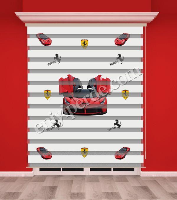 () Kırmızı Araba Baskılı Erkek Çocuk Odası Zebra Perde - PM 013 Fiyatı, Yorumları - Eniyiperde.com - 1