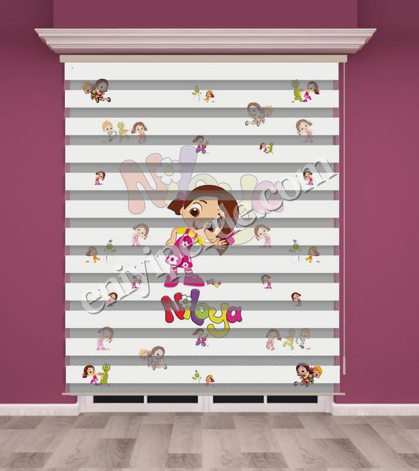 () Niloya Baskılı Kız Çocuk Odası Zebra Perde - PM 015 Fiyatı, Yorumları - Eniyiperde.com - 1