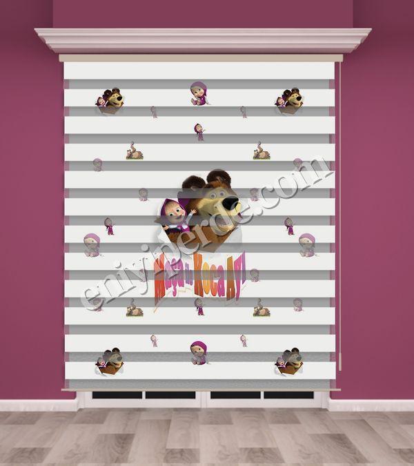 () Maşa ile Koca Ayı Baskılı Çocuk Odası Zebra Perde - PM 016 Fiyatı, Yorumları - Eniyiperde.com - 1