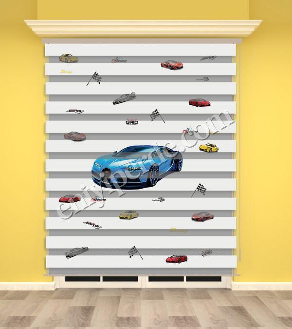 () Mavi Yarış Arabası Baskılı Erkek Çocuk Odası Zebra Perde - PM 017 Fiyatı, Yorumları - Eniyiperde.com - 1