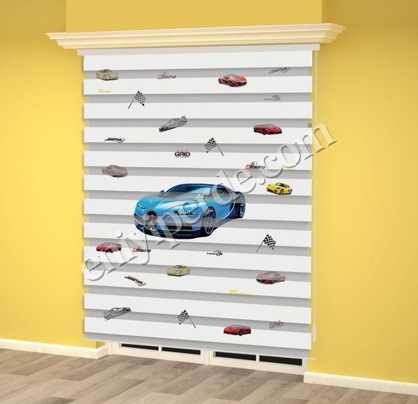 () Mavi Yarış Arabası Baskılı Erkek Çocuk Odası Zebra Perde - PM 017 Fiyatı, Yorumları - Eniyiperde.com - 2