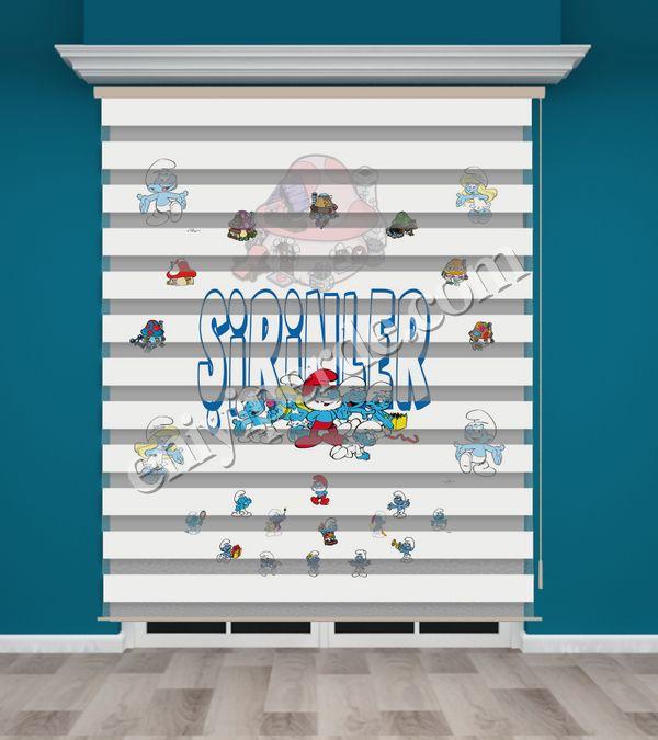 () Şirinler Baskılı Çocuk Odası Zebra Perde - PM 018 Fiyatı, Yorumları - Eniyiperde.com - 2