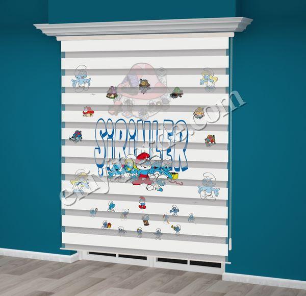 () Şirinler Baskılı Çocuk Odası Zebra Perde - PM 018 Fiyatı, Yorumları - Eniyiperde.com - 1