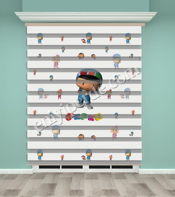 () Pepe Baskılı Çocuk Odası Zebra Perde - PM 021 Fiyatı, Yorumları - Eniyiperde.com - 1