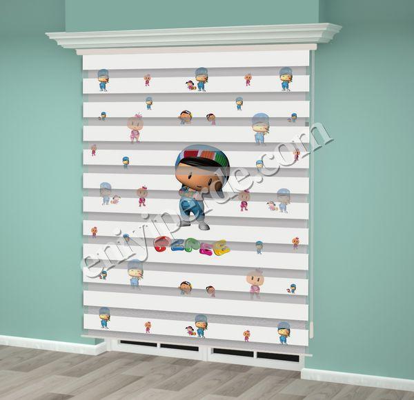 () Pepe Baskılı Çocuk Odası Zebra Perde - PM 021 Fiyatı, Yorumları - Eniyiperde.com - 2