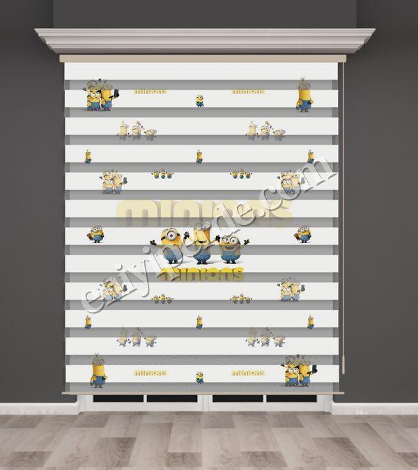 () Minyonlar Baskılı Çocuk Odası Zebra Perde - PM 022 Fiyatı, Yorumları - Eniyiperde.com - 1
