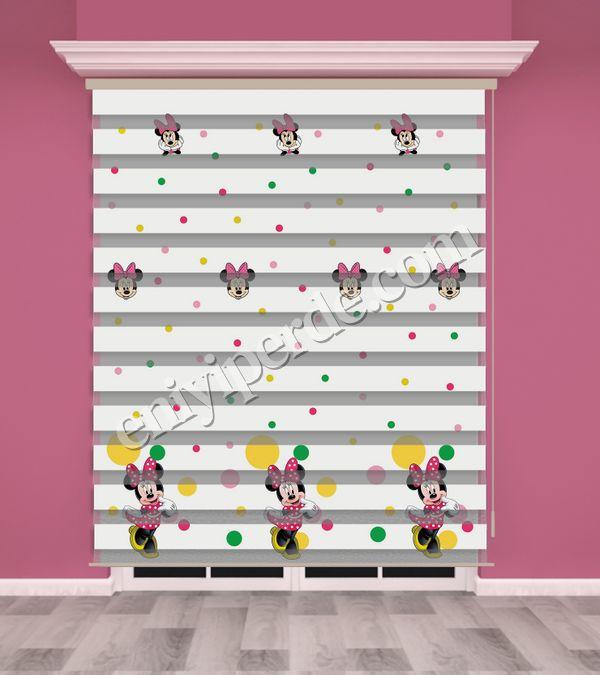 () Mini Mouse Baskılı Çocuk Odası Zebra Perde - PM 023 Fiyatı, Yorumları - Eniyiperde.com - 1