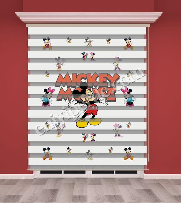 () Mickey Mouse Baskılı Çocuk Odası Zebra Perde - PM 024 Fiyatı, Yorumları - Eniyiperde.com - 1