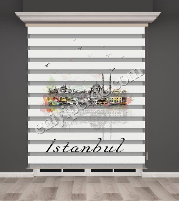 () İstanbul Desenli Zebra Perde - PM 027 Fiyatı, Yorumları - Eniyiperde.com - 1