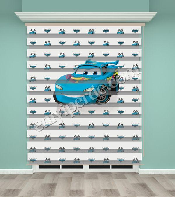 () Mavi Araba Baskılı Erkek Çocuk Odası Zebra Perde - PM 029 Fiyatı, Yorumları - Eniyiperde.com - 1