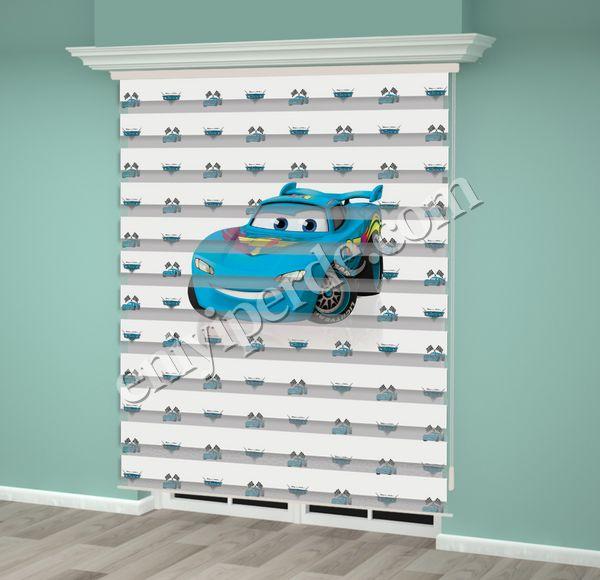 () Mavi Araba Baskılı Erkek Çocuk Odası Zebra Perde - PM 029 Fiyatı, Yorumları - Eniyiperde.com - 2