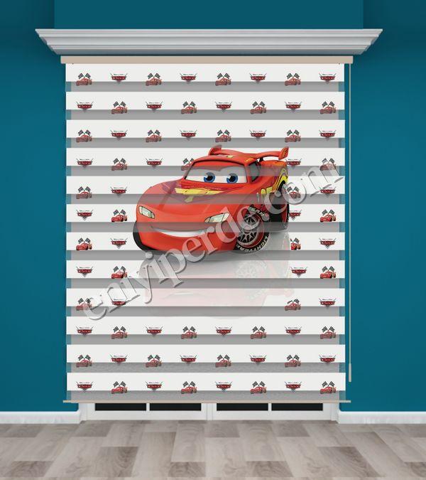 () Arabalar Baskılı Erkek Çocuk Odası Zebra Perde - PM 032 Fiyatı, Yorumları - Eniyiperde.com - 1