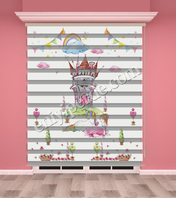 () Dijital Baskılı Kız Çocuk Odası Zebra Perde - PM 033 Fiyatı, Yorumları - Eniyiperde.com - 1