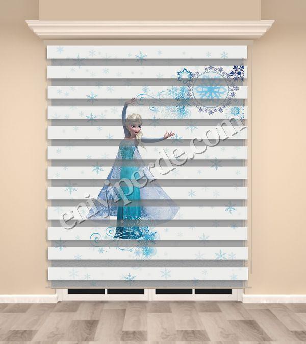 () Frozen Elsa Baskılı Kız Çocuk Odası Zebra Perde - PM 035 Fiyatı, Yorumları - Eniyiperde.com - 1