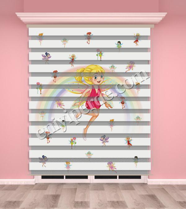 () Peri Baskılı Kız Çocuk Odası Zebra Perde - PM 036 Fiyatı, Yorumları - Eniyiperde.com - 1