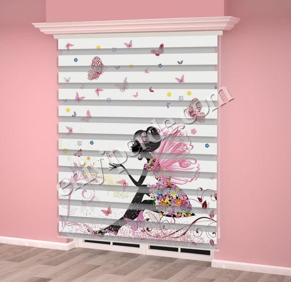 () Peri, Kelebek Baskılı Kız Çocuk Odası Zebra Perde - PM 037 Fiyatı, Yorumları - Eniyiperde.com - 2