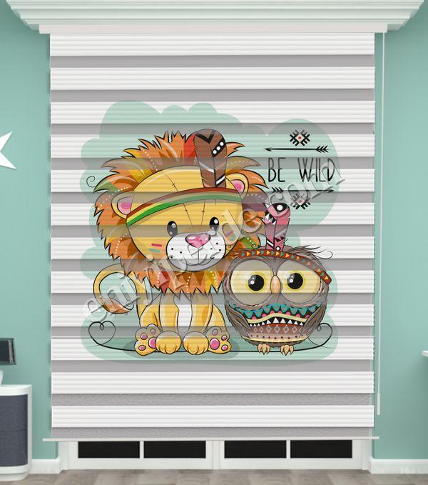() Aslan Baskılı Bebek Odası Zebra Perde - PM 039 Fiyatı, Yorumları - Eniyiperde.com - 1