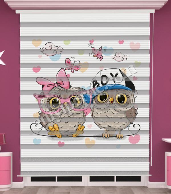 () Baykuş Baskılı İkiz Bebek Odası Zebra Perde - PM 040 Fiyatı, Yorumları - Eniyiperde.com - 1