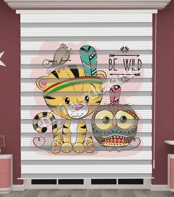 () Kedi Baskılı Bebek Odası Zebra Perde - PM 045 Fiyatı, Yorumları - Eniyiperde.com - 1