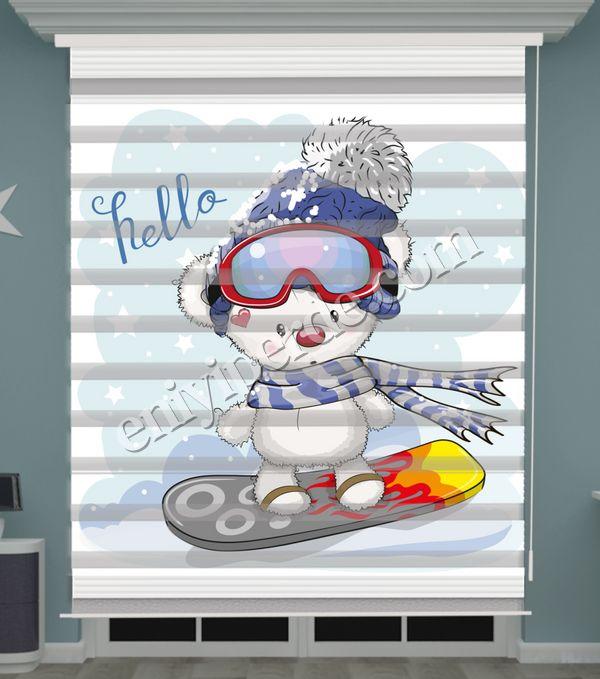 () Kutup Ayısı Baskılı Bebek Odası Zebra Perde - PM 046 Fiyatı, Yorumları - Eniyiperde.com - 1