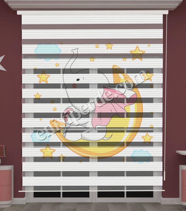 () Fil ve Aydede Baskılı Bebek Odası Zebra Perde - PM 047 Fiyatı, Yorumları - Eniyiperde.com - 2