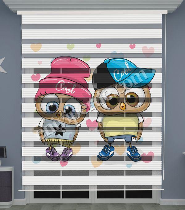 () Dijital Baskılı İkiz Bebek Odası Zebra Perde - PM 048 Fiyatı, Yorumları - Eniyiperde.com - 2