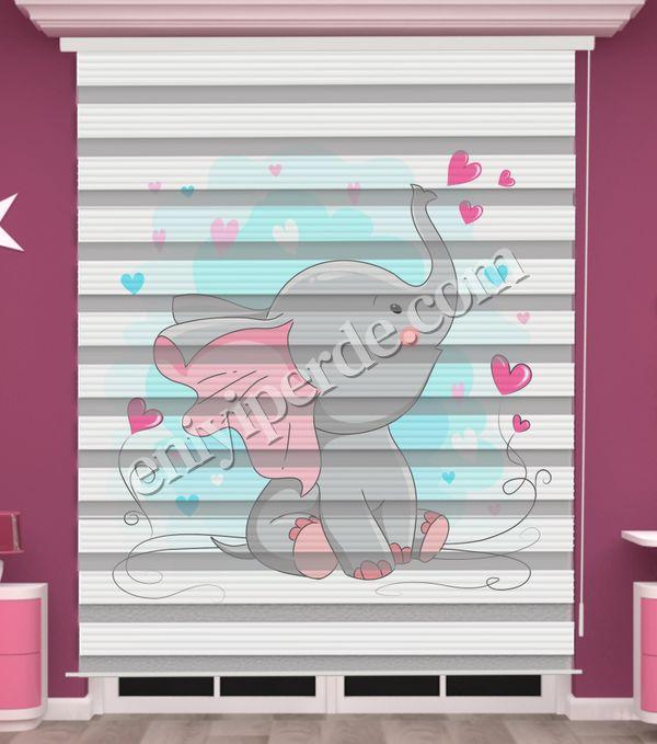 () Sevimli Fil Baskılı Bebek Odası Zebra Perde - PM 051 Fiyatı, Yorumları - Eniyiperde.com - 1