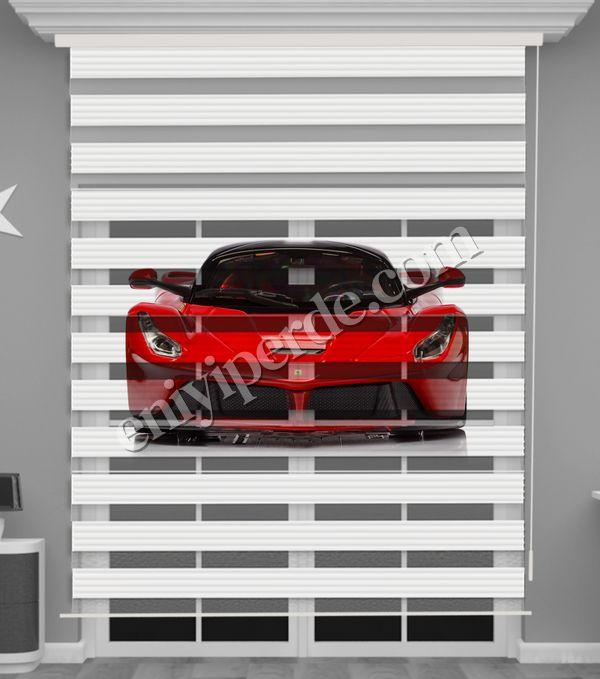 () Kırmızı Araba Baskılı Erkek Çocuk Odası Zebra Perde - PM 057 Fiyatı, Yorumları - Eniyiperde.com - 2