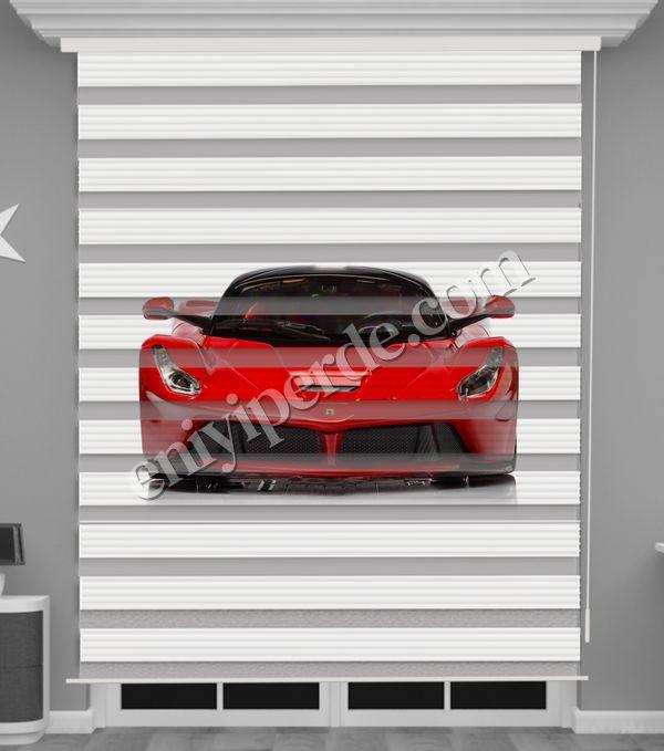 () Kırmızı Araba Baskılı Erkek Çocuk Odası Zebra Perde - PM 057 Fiyatı, Yorumları - Eniyiperde.com - 1
