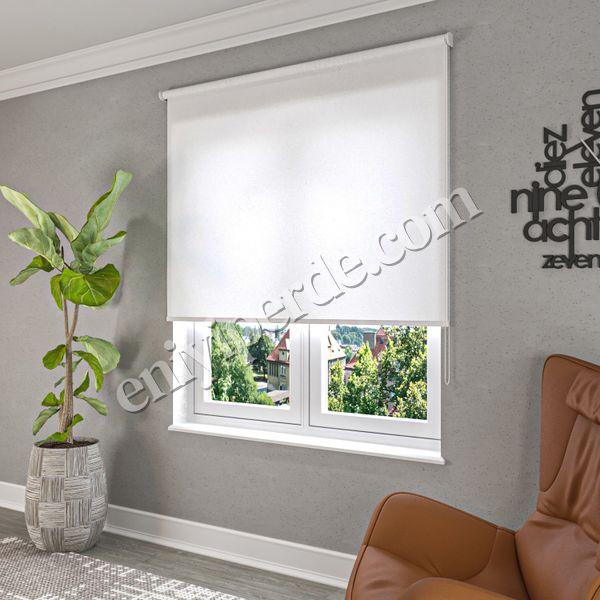(Beyaz) Simli Beyaz Düz Stor Perde - 2910 Fiyatı, Yorumları - Eniyiperde.com - 2