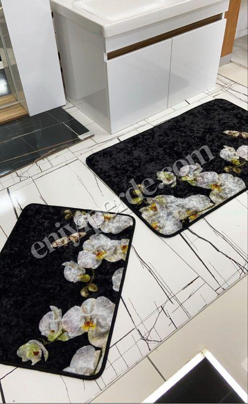 (Siyah) Lateks Taban Su Geçirmez Saçaksız (70x110 - 70x50) İkili Banyo Paspas Takımı Fiyatı, Yorumları - Eniyiperde.com - 2