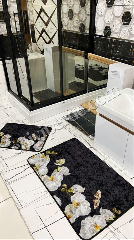 (Siyah) Lateks Taban Su Geçirmez Saçaksız (70x110 - 70x50) İkili Banyo Paspas Takımı Fiyatı, Yorumları - Eniyiperde.com - 1